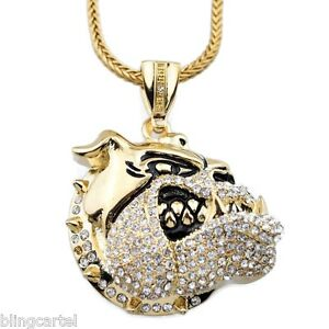 Iced out bulldog pendant micro pave gold tone 36 franco chain hip image is loading iced out bulldog pendant micro pave gold tone aloadofball Images