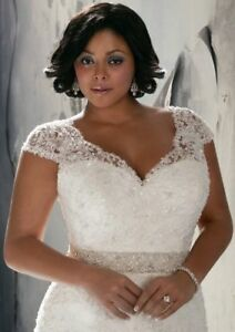 Plus-Size-White-Ivory-Lace-Wedding-dress-bridal-gown-Size-14-26-UK