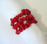 "Red Natural Chip Stones Beads. 3 Stretch Bracelets. Will Fit Up To 6½"" Wrist.nwt"