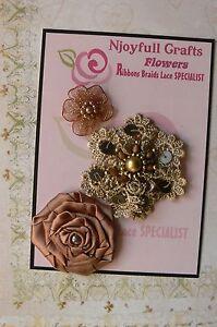 HANDMADE-3-Flower-Mix-LIGHT-BROWN-Organza-Lace-30-60mm-NjoyfullCrafts