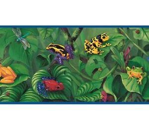 Tropical-Rainforest-Colorful-Frogs-Yellow-Pink-Purple-Blue-Trim-Wallpaper-Border