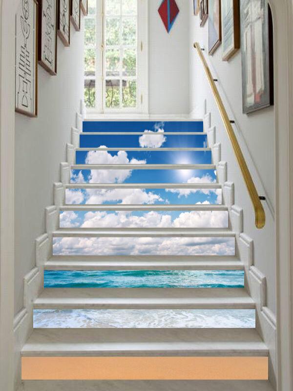 3D Weiß Cloud Sea Stair Risers Decoration Photo Mural Vinyl Decal WandPapier CA