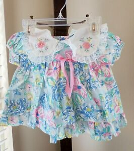 vintage CRADLE TOGS BLUE FLORAL little girls cotton blend dress size 18 mo