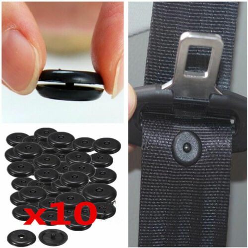 10Pairs Universal Car Auto Seat Belt Stopper Buckle Button Fastener Safety Black