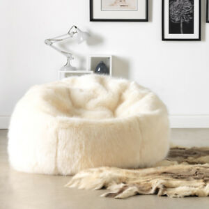 Astonishing Details About X Large Luxury Faux Fur Bean Bag Adult Beanbag Chair Cream Natural Inzonedesignstudio Interior Chair Design Inzonedesignstudiocom