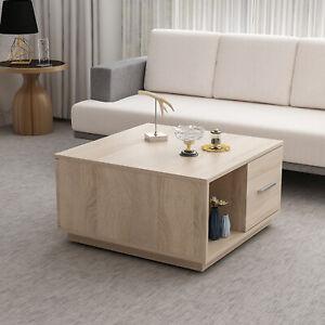 Details zu Couchtisch 75 x 75 cm Sonoma Eiche Nachbildung Tisch  Wohnzimmertisch Schubladen
