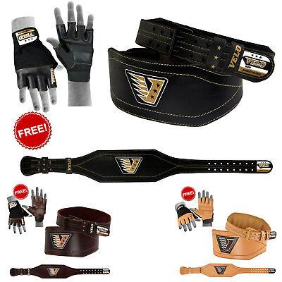 """Velo 6"""" Weight Lifting Belt Buffalo Hide Genuine Leather Back Support Fitness StäRkung Von Sehnen Und Knochen"""