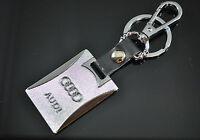 Audi Key Ring A1 A3 A4 A5 Q3 Q5 Q7 RS TT Silver Key Chain Leather Keyring