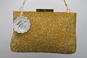 La-Regale-NWT-Bag-Clutch-Purse-Heavy-Beaded-Metallic-Gold-Shiny-Vintage-Formal