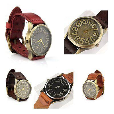 Fashion Retro Vintage Women's Bronze Round Dial Leather Band Quartz Wrist Watch
