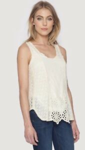JOHNNY-WAS-Eyelet-SAIGE-Embroidered-Tank-Blouse-Top-CROCHET-Floral-Cream-S