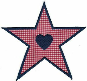 """5.5"""" Red Gingham Heart Star Embroidery Patch"""