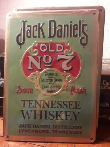 NEW OFFICIAL SEALED-JACK DANIELS METAL SIGN-BREWERIANA-MAN CAVE//SHED-BAR-WHISKY