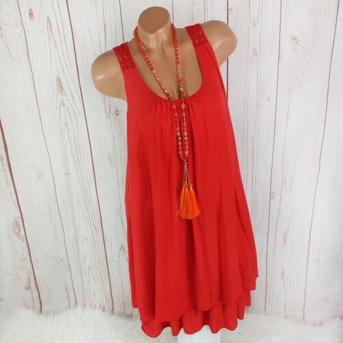 Made in Italy robe d/'été plage robe Häkel dos rouge 36 38 40 42 44