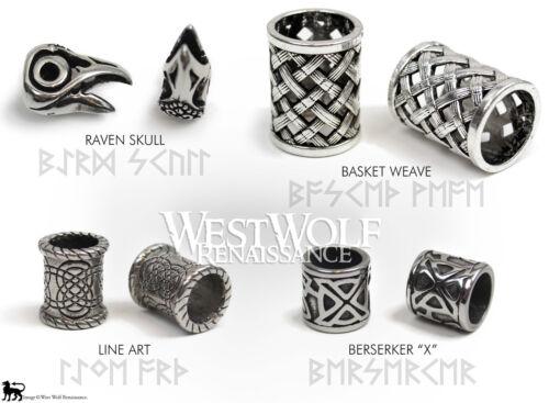 Argent Grande Viking Barbe Perles Norse//Raven Skull//croix//tresse//NOEUD//Collier -