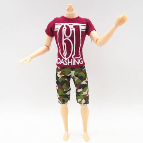 Fashion Casual Wear For Ken Doll Red T-Shirt Camouflage Shorts For Ken Boy 1//6