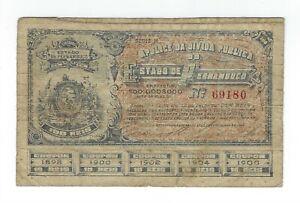100-riz-Bresil-1895-APOLICE-Estado-de-Pernambuco-Brazil-billet