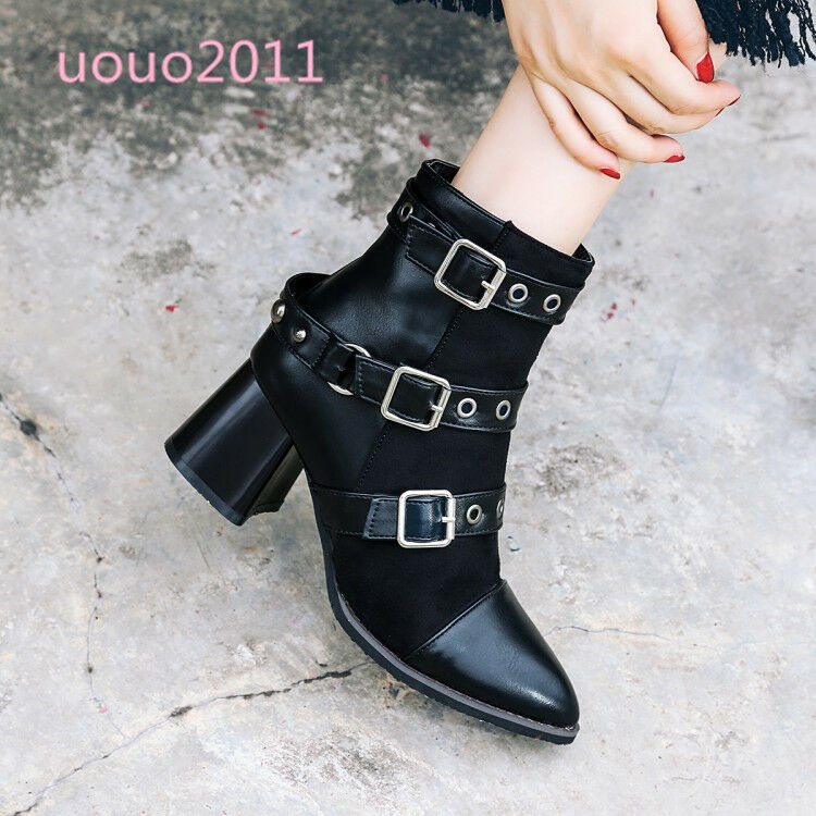Women Retro Punk Buckles Pointy Block Med Heel Ankle Boots Plus Size Lined shoes