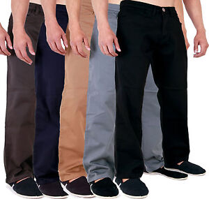 New-Mens-Aztec-Stretch-Chinos-Straight-Regular-Fit-Classic-Basic-Pants-28-48