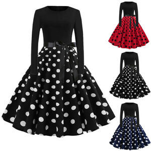 Vintage-Womens-Long-Sleeve-Evening-Dot-Printing-Party-Prom-Swing-Dress-Xmas-AB