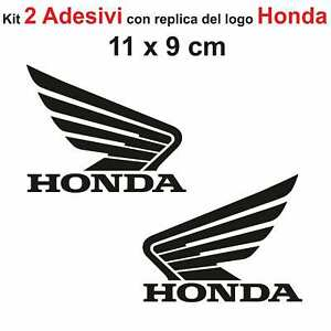 Kit-2-Adesivi-Honda-Moto-Stickers-Adesivo-11-x-9-cm-decalcomania-NERO