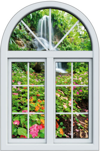 Sticker fenêtre trompe l/'oeil  Cascade fleurie réf 1035