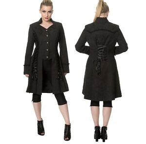 Gothic-Black-Velvet-Steampunk-Victorian-Military-Flare-Jacket-Coat-Emo-Punk-Goth