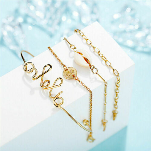 New Women Heart Tortoise Rope Tassels Bead Anklet Chain Bangle Bracelet Set Gift