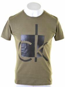 Calvin-Klein-Para-Hombre-Graphic-T-Shirt-Top-Algodon-Verde-Pequeno-CX22