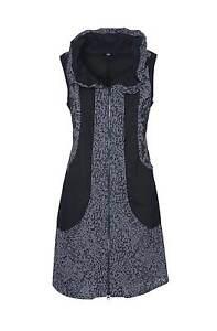 Marken-Kleid-Tunika-Longweste-Reissverschluss-schwarz-Grau-Gr-44-TOP