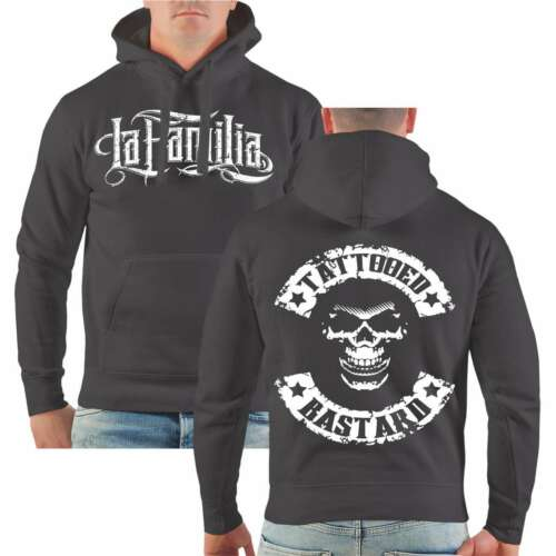 Con cappuccio Pullover TATTOOED bastarda hoodie tätowierter cranio patch hardcore duro