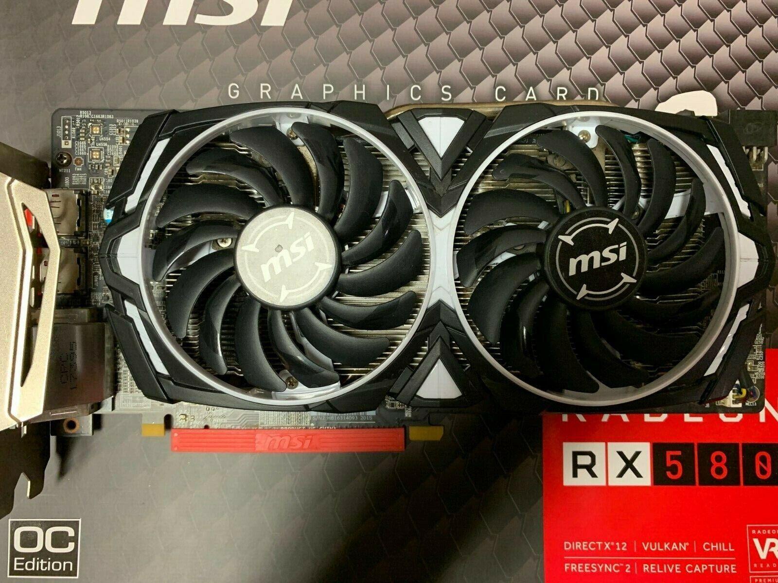 MSI Graphics Card Radeon RX 580 ARMOR 4GB OC 256-bit DirectX 12 AMD 2