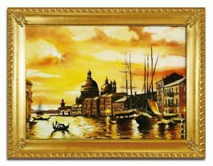 Painting-Venice-Port-Handmade-Ship-Oil-Painting-Picture-Oil-Frame-Pictures-02886