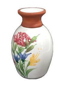 "Emerson creek pottery vase white with pink flowers 7"" high pretty home decor"