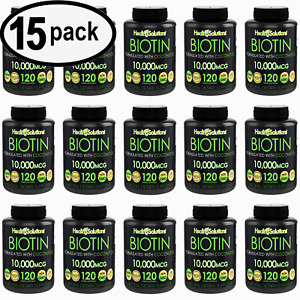 BIOTIN 10000 mcg Nail Skin Hair Growth Vitamins Coconut Oil 120 Softgel -15 PACK