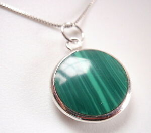 Reversible-Malachite-amp-Mother-of-Pearl-925-Sterling-Silver-Pendant