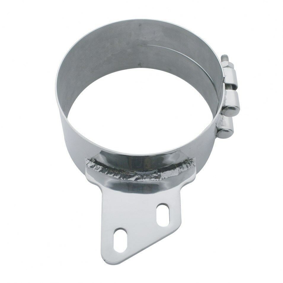Quot stainless butt joint exhaust clamp angled bracket