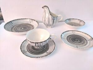 1955 Stetson china  Whirlpool 5 PC place setting  and gravy boat brown