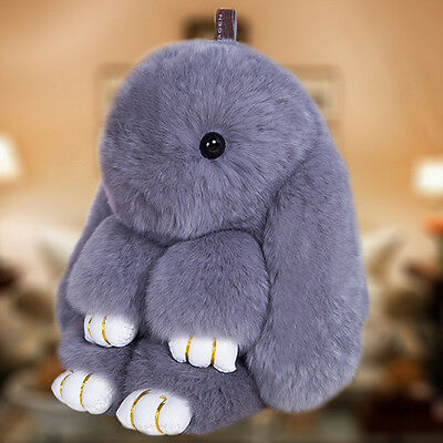 Rabbit Fur Ball PomPom Cell Phone Car Keychain Pendant bag Charm Key Ring