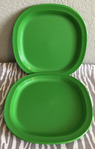 Image is loading Tupperware-Luncheon-Plates-Square-Dinner-Plates-Green-Set- & Tupperware Luncheon Plates Square Dinner Plates Green Set Of 4 New 9 ...
