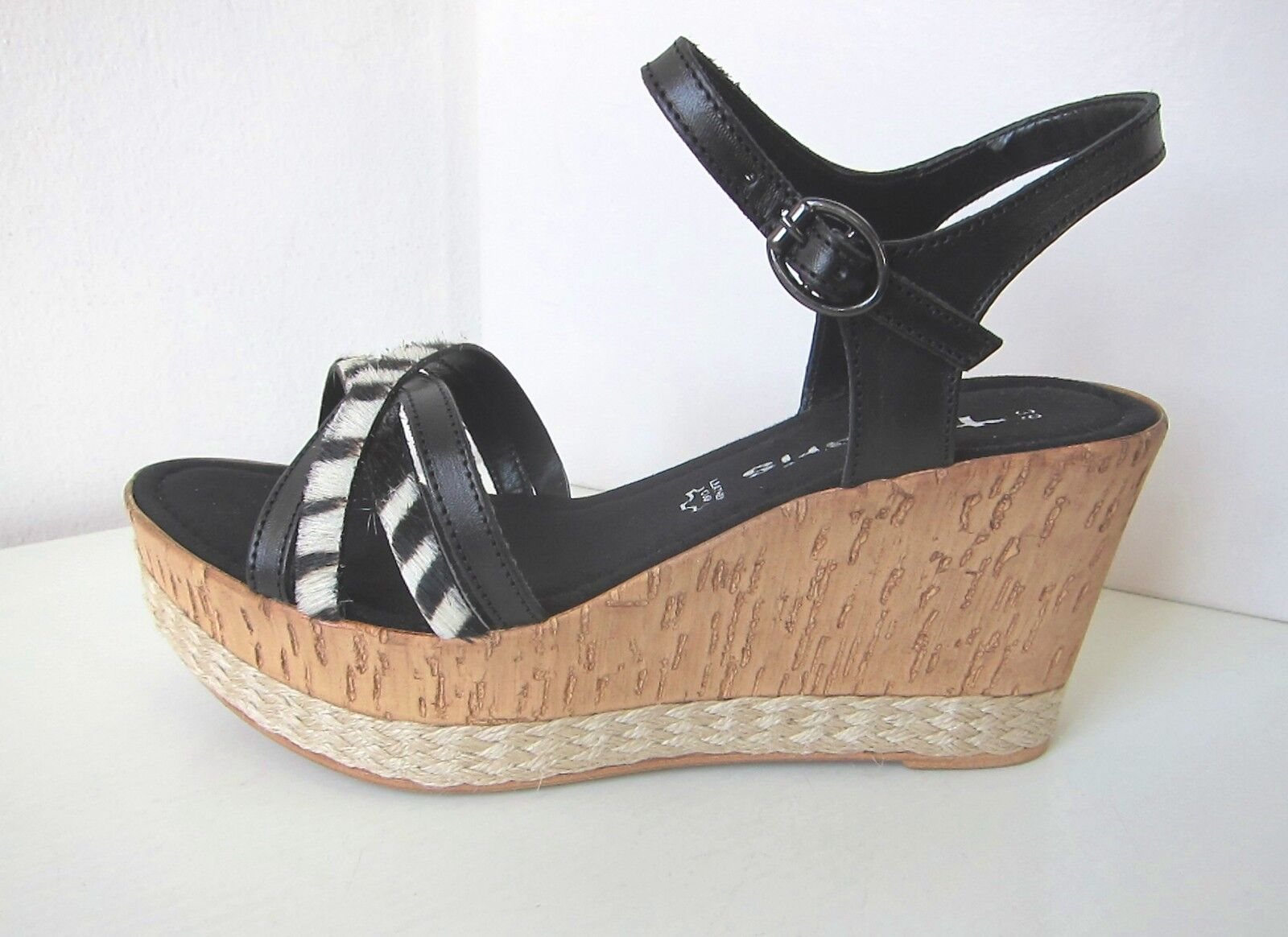 Tamaris semelle talon compense sandales sandales sandales noir zebra 36 platform talons compenses sandals Black b47104