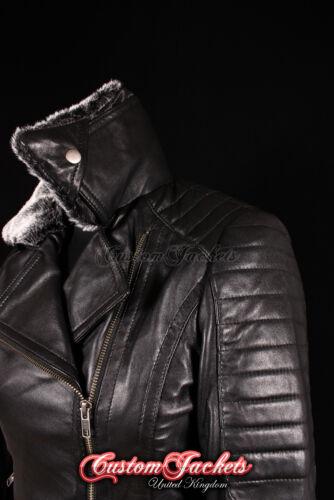 Ladies BONNEVILLE Black FUR COLLAR Biker Designer Fashion Genuine Leather Jacket