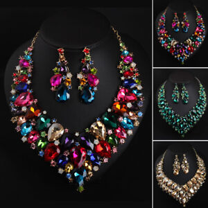 Women-Necklace-Pendant-Earrings-Set-Bridal-Wedding-Party-Crystal-Jewelry-Sets