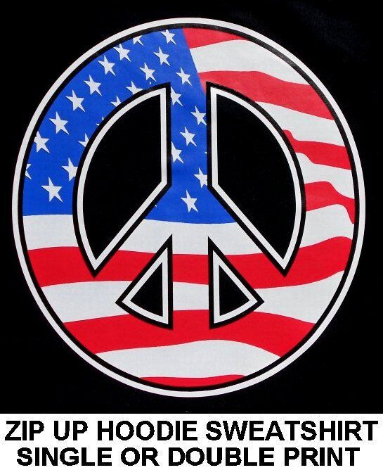 AMERICAN OLD GLORY FLAG STARS AND STRIPES PEACE SYMBOL ZIP HOODIE SWEATSHIRT 130