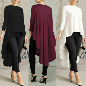 Women-Long-Sleeve-Asymmetrical-Waterfall-Shirt-Tops-High-Low-Plus-Blouse