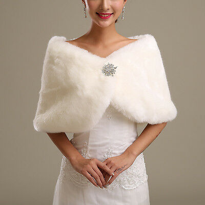 Women's White Faux Fur Cape Wrap Shrug Shawl Coat Wedding Winter