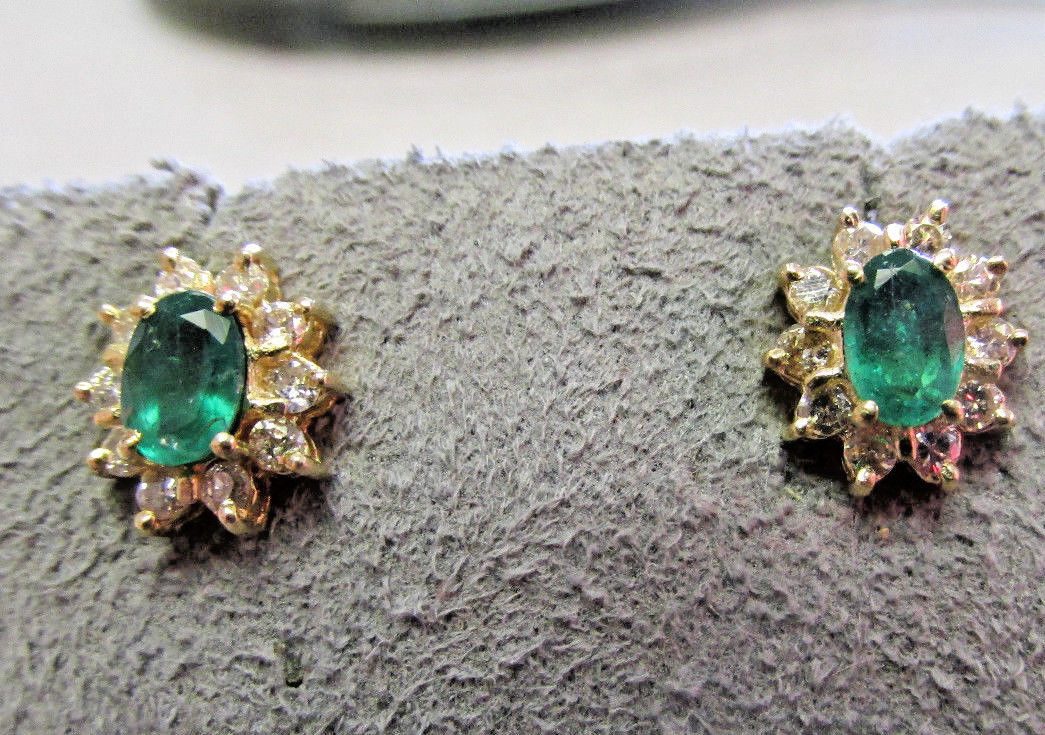 Beautiful High Quality Emerald and Diamond Earrings in 14k gold    Make Offer