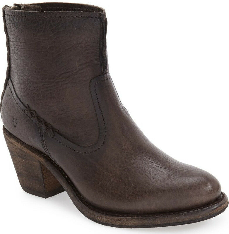 NIB FRYE Womens Leslie Artisan Short Smoke Leather Ankle Bootie US 7.5 Back Zip