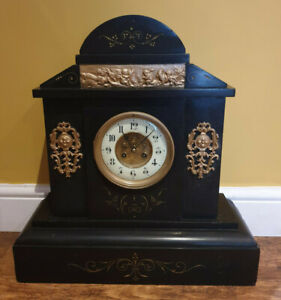 Antique 19th Century Victorian French Black Slate Mantel Clock (Brocot Movement)