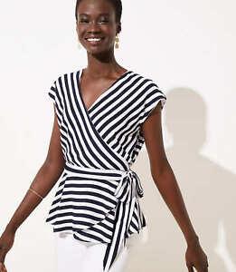 Ann-Taylor-Loft-Striped-Dolman-Wrap-Blouse-Top-Blue-amp-White-NWT-59-50-S